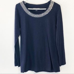 Soft Surroundings navy sequined t-shirt size xs